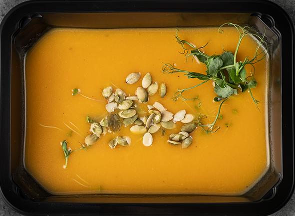 Суп-пюре из тыквы с запеченным яблоком