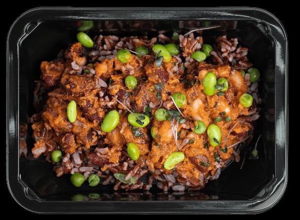 Коричневый рис с тушеными бобами